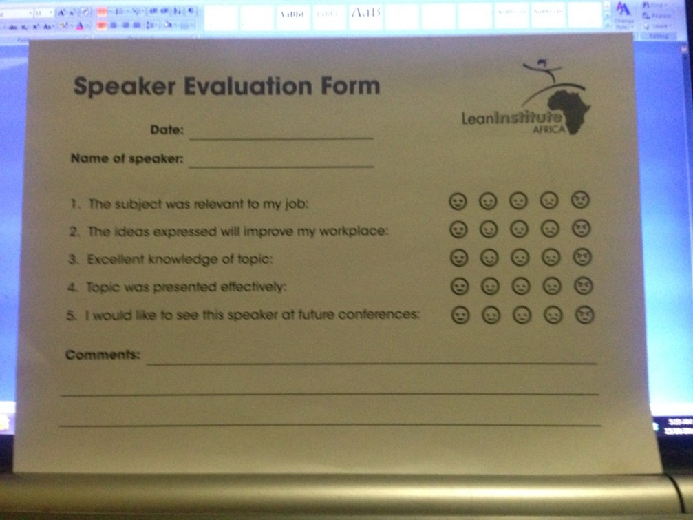 Evaluation forms
